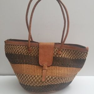 Handmade Woven Sisal Rope and Leather Jute Tote